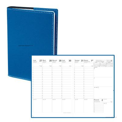 Agenda QUOVADIS Planning SD 18 x 24 cm 16 mois - 1 semaine sur 2 pages couverture Club Bleu roi