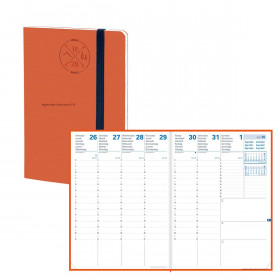 Agenda QUOVADIS PLANNING 21 SD 15X21cm - 16 mois Everest orange - 1 semaine sur 2 pages
