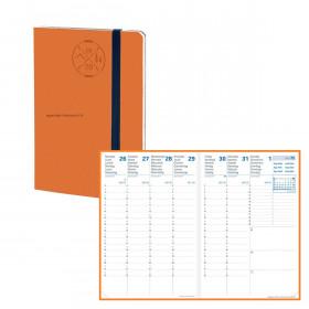 Agenda QUOVADIS AFFAIRE SD 10x15cm - 16 mois Everest orange - 1 semaine sur 2 pages