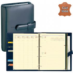 Agenda organiseur QUOVADIS - TIMER 29 Prestige 16 mois cuir vachette lisse Luna noir ébène - 21x29,7cm