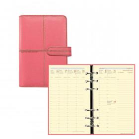Agenda organiseur QUOVADIS TIMER 17 PRESTIGE VERONA - 10x17cm - ROSE - 1 semaine sur 2 pages
