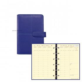Agenda organiseur QUOVADIS TIMER 14 Prestige VERONA - 8x12cm - INDIGO - 1 semaine sur 2 pages horizontal