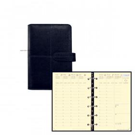 Agenda organiseur QUOVADIS TIMER 14 Prestige VERONA - 8x12cm - NOIR - 1 semaine sur 2 pages horizontal