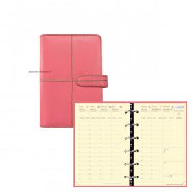 Agenda organiseur QUOVADIS TIMER 14 Prestige VERONA - 8x12cm - ROSE - 1 semaine sur 2 pages horizontal