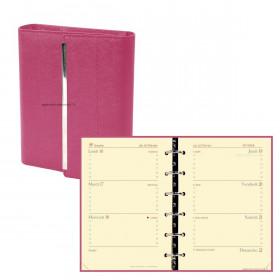 Agenda QUOVADIS TIMER 14 HORIZONTAL VENEZIA - 8x12cm - FUCHSIA - 1 semaine sur 2 pages horizontal
