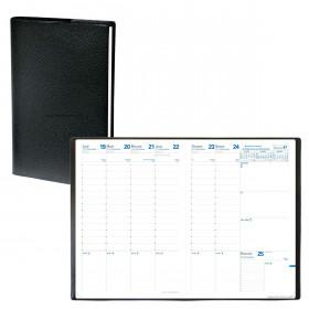 Agenda QUOVADIS CONSUL avec répertoire couverture Impala noir 21x29,7cm - 1 semaine sur 2 pages
