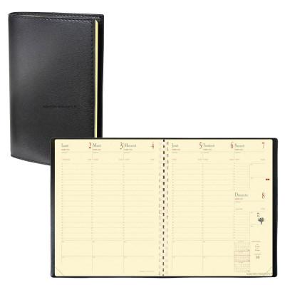 Agenda QUOVADIS MANAGER avec répertoire couverture Soho noir ébène 21x27cm - 1 semaine sur 2 pages