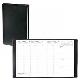 Agenda QUOVADIS PRESIDENT avec répertoire couverture Impala noir 21x27cm - 1 semaine sur 2 pages