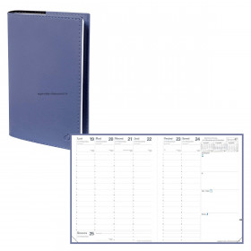 Agenda QUOVADIS PRESIDENT Soho Bleu ardoise - 21x27cm - 1 semaine sur 2 pages Verticale