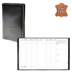 Agenda QUOVADIS PRESIDENT cuir vachette lisse Luna noir ébène 21x27cm - 1 semaine sur 2 pages