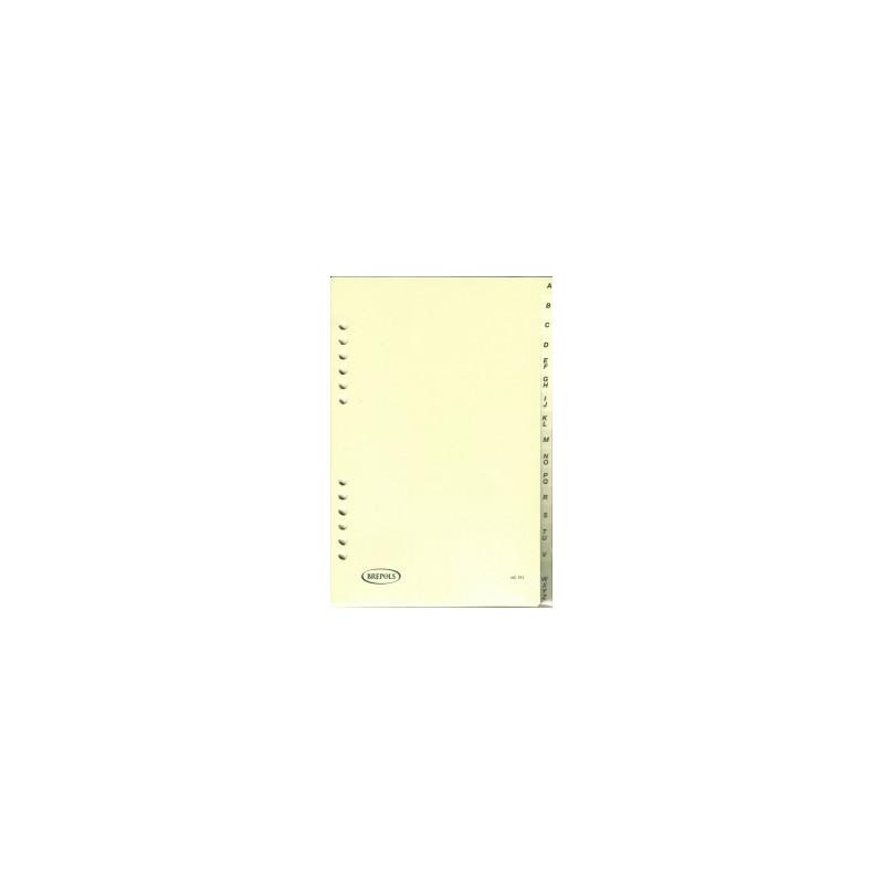 Recharge 16 intercalaires alphabétique pour agenda BREPOLS Brefax 1 & 7 - 14,5x21cm