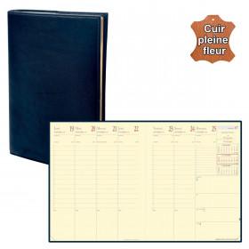 Agenda QUOVADIS PRESIDENT Prestige cuir pleine fleur Montebello bleu marine 21x27cm - 1 semaine sur 2 pages