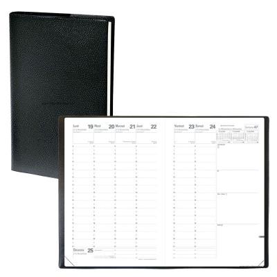 Agenda QUOVADIS MINISTRE avec répertoire couverture Impala noir 16x24cm - 1 semaine sur 2 pages