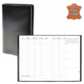 Agenda QUOVADIS MINISTRE cuir vachette lisse Luna noir ébène 16x24cm - 1 semaine sur 2 pages