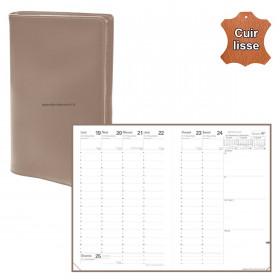 Agenda QUOVADIS MINISTRE cuir vachette lisse Luna taupe 16x24cm - 1 semaine sur 2 pages