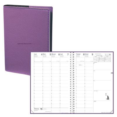 Agenda QUOVADIS MINISTRE S à spirale - Club violet iris  - 16x24cm - 1 semaine sur 2 pages + répertoire