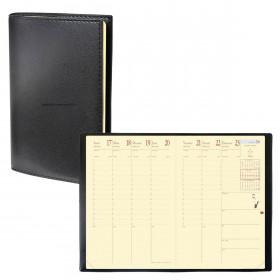 Agenda QUOVADIS MINISTRE Prestige avec répertoire couverture Soho noir ébène 16x24cm - 1 semaine sur 2 pages