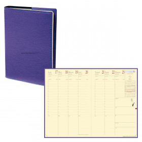 Agenda QUOVADIS MINISTRE PRESTIGE Club - Violet Iris - 16x24cm - 1 semaine sur 2 pages