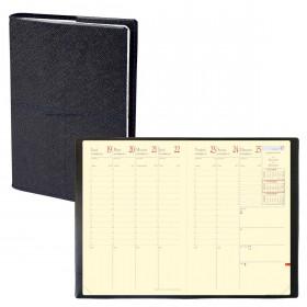 Agenda QUOVADIS MINISTRE Prestige Verona Noir - 16x24cm - 1 semaine sur 2 pages Verticale