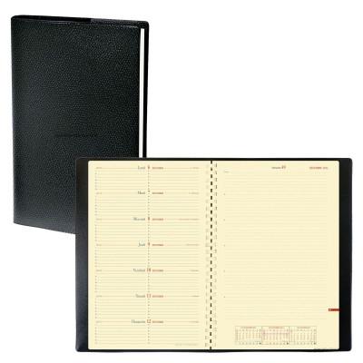 Agenda QUOVADIS NOTE 24 S à spirale - Impala noir  - 16x24cm - 1 semaine sur 2 pages + répertoire