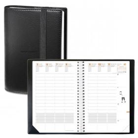 Agenda QUOVADIS TIME&LIFE LARGE avec répertoire noir 16x24cm - 1 semaine sur 2 pages
