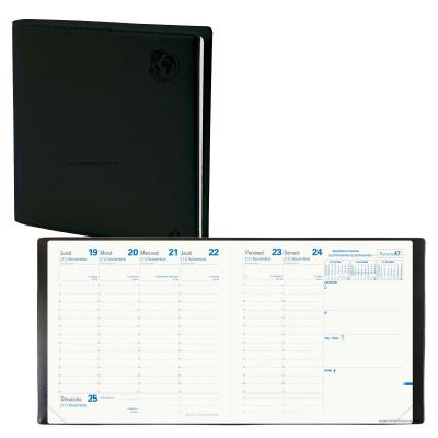 Agenda QUOVADIS EXECUTIF Recyclé noir - 16x16cm - 1 semaine sur 2 pages