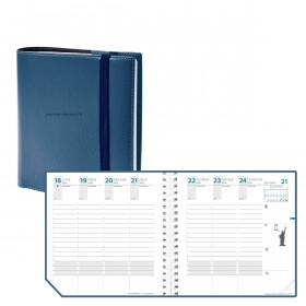 Agenda QUOVADIS TIME&LIFE MEDIUM avec répertoire Bleu métal 16x16cm - 1 semaine sur 2 pages