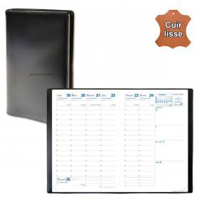 Agenda de poche QUOVADIS AFFAIRES cuir vachette lisse Luna noir ébène 10x15cm - 1 semaine sur 2 pages