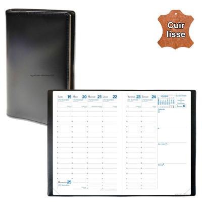 Agenda de poche QUOVADIS AFFAIRES avec répertoire avec tranche dorée couverture Luna noir ébène 10x15cm - 1 semaine sur 2 pages