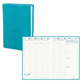 Agenda QUOVADIS AFFAIRES Recyclé bleu lagon - 10x15cm - 1 semaine sur 2 pages