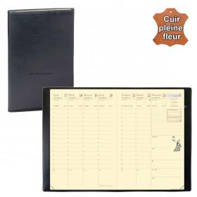 Agenda de poche QUOVADIS AFFAIRES Prestige cuir pleine fleur Montebello noir 10x15cm - 1 semaine sur 2 pages