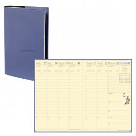 Agenda QUOVADIS AFFAIRES PRESTIGE Soho Bleu ardoise - 10x15cm - 1 semaine sur 2 pages Verticale