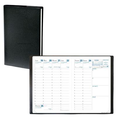 Agenda de poche QUOVADIS RANDONNEE couverture Impala noir 9x12,5cm - 1 semaine sur 2 pages