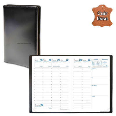 Agenda de poche QUOVADIS RANDONNEE avec répertoire avec tranche dorée couverture Luna noir ébène 9x12,5cm - 1 semaine sur 2 page