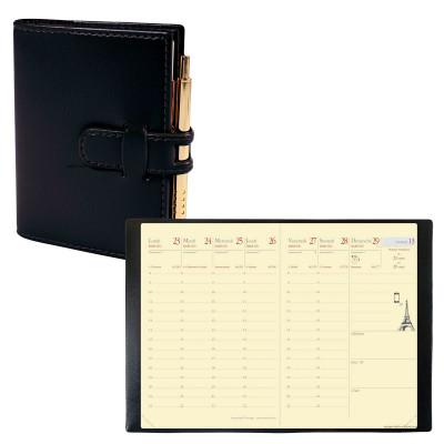 Agenda de poche QUOVADIS RANDONNEE Prestige avec répertoire couverture Soho noir ébène 9x12,5cm - 1 semaine sur 2 pages