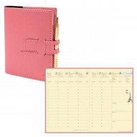 Agenda QUOVADIS RANDONNEE Prestige Soho Rose - 9x12,5cm - 1 semaine sur 2 pages Verticale