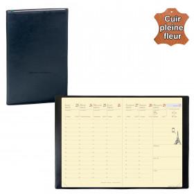 Agenda de poche QUOVADIS RANDONNEE Prestigecuir pleine fleur Montebello noir 9x12,5cm - 1 semaine sur 2 pages