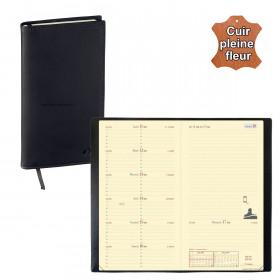 Agenda de poche QUOVADIS ITALNOTE cuir pleine fleur Montebello noir 8,8x17cm - 1 semaine sur 1 page + NOTES