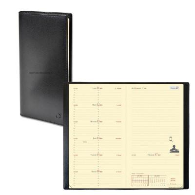 Agenda QUOVADIS ITALNOTE - Soho noir ebene  - 8,8x17cm - 1 semaine sur 2 pages + répertoire