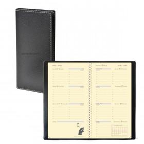 Agenda QUOVADIS PLANORIZON - Club noir ebene - 8,8x17cm - 1 semaine sur 2 pages + répertoire