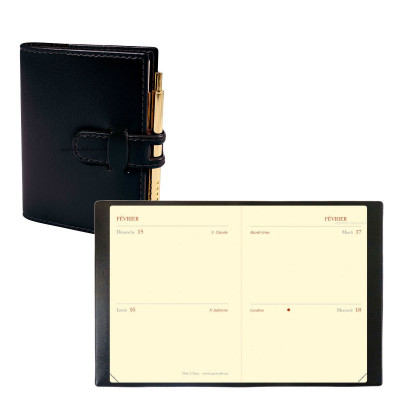 Agenda de poche QUOVADIS MINI 2 DAYS couverture Soho noir ébène 7x10cm - 2 jours par page