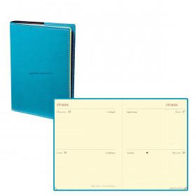 Agenda QUOVADIS MINI 2 DAYS Club - Bleu Turquoise - 7x10cm - 2 jours sur 2 pages