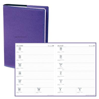 Agenda QUOVADIS LE PROFESSEUR Club - Violet Iris - 21x27cm - 2 semaines sur 2 pages