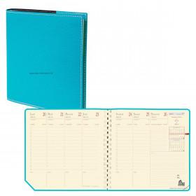 Agenda QUOVADIS EXECUTIF Prestige S à spirale - Club turquoise - 16x16cm - 1 semaine sur 2 pages + répertoire