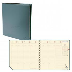 Agenda QUOVADIS EXECUTIF Prestige Soho Kaki - 16x16cm - 1 semaine sur 2 pages Verticale
