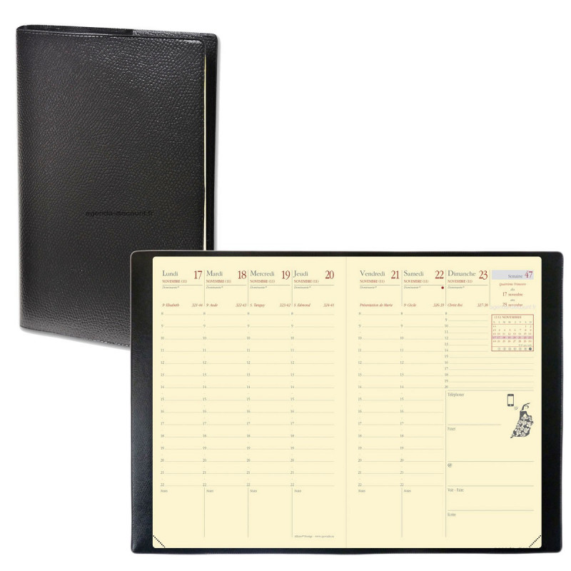 Agenda Affaires «Prestige» QUOVADIS 10 x 15 cm - 1 semaine sur 2 pages
