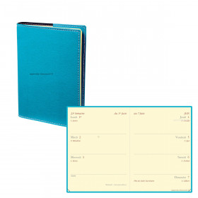 Agenda QUOVADIS MINIWEEK Club - Bleu Turquoise - 7x10cm - 1 semaine sur 2 pages