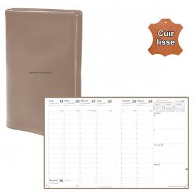 Agenda QUOVADIS PRESIDENT cuir vachette lisse Luna taupe 21x27cm - 1 semaine sur 2 pages