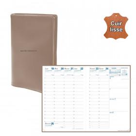 Agenda de poche QUOVADIS AFFAIRES cuir vachette lisse Luna Taupe 10x15cm - 1 semaine sur 2 pages