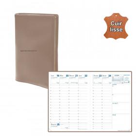 Agenda de poche QUOVADIS RANDONNEE cuir vachette lisse Luna ambré 9x12,5cm - 1 semaine sur 2 pages